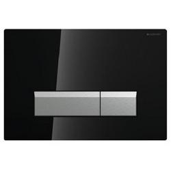 Geberit 115600SJ1 Sigma 40 Plaque de recouvrement rinçage à 2 boutons Noir/Alu Brossé