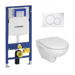Pack WC Geberit Duofix + Cuvette Ideal Standard Tesi Aquablade + Plaque de commande Sigma01 Blanche