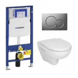 Pack WC Geberit Duofix + Cuvette Ideal Standard Tesi Aquablade + Plaque de commande Sigma01 Chrome mat