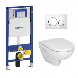 Pack WC Geberit Duofix + Cuvette Ideal Standard Tesi Aquablade + Plaque de commande Sigma20 Blanc chromé