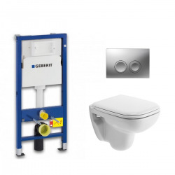 Pack WC Geberit UP100 Duofix + Cuvette D-Code Duravit Rimless + abattant SoftClose + Plaque de commande Delta21 (DCODESET3)