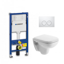 Pack WC Geberit UP100 Duofix + Cuvette D-Code Duravit Rimless + abattant SoftClose + Plaque de commande Delta21 (DCODESET4)