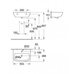 Bau Ceramic Lavabo suspendu 55cm (39440000)