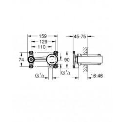 Essence Mitigeur monocommande 2 trous lavabo Taille M chrome (19408001-set)