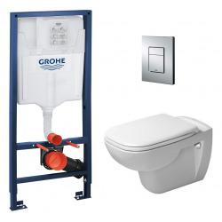 Pack WC Grohe RapidSL + Cuvette D-Code DURAVIT Rimless + abattant SoftClose + Plaque de commande Skate Cosmopolitan (DCODESET1)