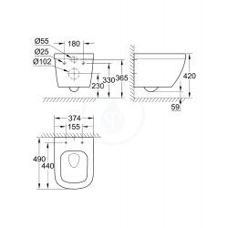 Grohe Euro Ceramic Cuvette WC suspendue compact Triple Vortex, blanc alpin (39206000)
