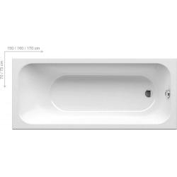 RAVAK BAIGNOIRE ACRYLIQUE RECTANGULAIRE CHROME, 1600 x 700 mm, blanc