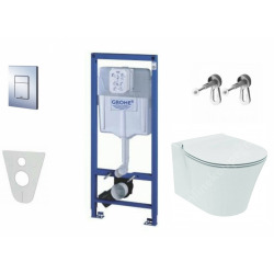 Pack WC Rapid SL GROHE + Cuvette Ideal Standard Connect Air + Plaque de commande Grohe Skate Chrome (GROHECONNECT-SET)