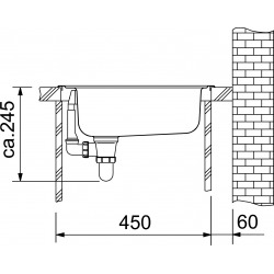 EUROSTAR - évier ETN 610 Acier inoxydable, 455x435 mm + siphon (101.0286.106)