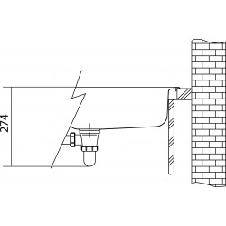 LOGICA - évier LLL 651/7, 1000x500 mm, droite+ siphon (101.0120.186)