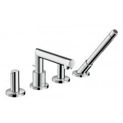 UNO Set de finition mélangeur 4 trous pour montage sur bord de baignoire, poignées zéro, chromé (45444000)
