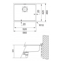 Franke Evier sous plan Kubus 2 KNG 110-52 Fragranit+ Onyx (125.0512.504)