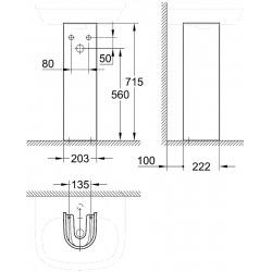 Euro Ceramic Colonne pour lavabo suspendu, blanc alpin (39202000)