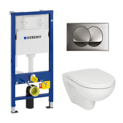 Geberit Pack WC Geberit duofix UP100 + Cuvette Jika (groupe Roca-Laufen) + Plaque de commande Delta20 chrome