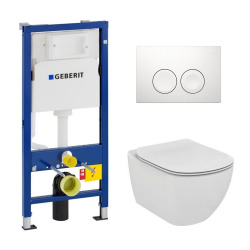 Pack WC Geberit duofix UP100 + Cuvette Ideal Standard Tesi Aquablade + Plaque de commande Delta21 blanche