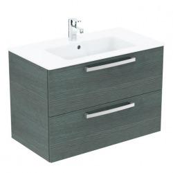 Ideal Standard - Lavabo + meuble – Tempo K2978SG décor chêne gris coloris chêne gris, 81,5 x 45 x 56,5 cm