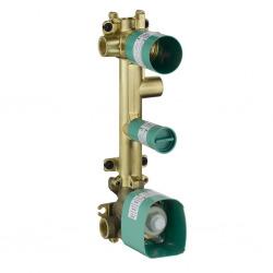Corps d'encastrement pour set de finition 38 x 12 pour thermostatique encastré avec robinet d'arrêt et 3 sorties