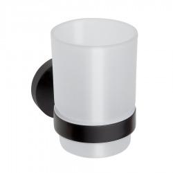 Porte-verre DARK en laiton noir et en verre 7x9,5x10,5cm (XB900)
