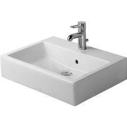 Vero Vasque à poser meulé, avec plage de robinetterie, arrière émaillé, fixations incluses, 500 mm