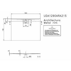 Receveur Architectura Metalrim, 1200 x 900 x 15 mm, blanc (UDA1290ARA215V-01)
