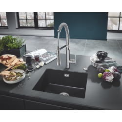 Grohe K700 Evier de Cuisine à encastrer par dessous Quartz Noir Granite 533 x 457 (31654AP0)