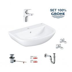 Bau Ceramic set lavabo suspendu 60 cm + mitigeur monocomande + siphon + robinet d'équerre (39644000)