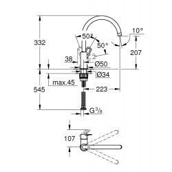 Nouveauté 2020 : Bauloop mitigeur monocommande évier col de cygne (31368001)