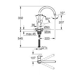 Bauedge mitigeur monocommande évier col de cygne (31367001)