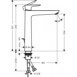 Talis E Mitigeur de lavabo 240 noir chromé brossé, sans tirette ni vidage (71717340)