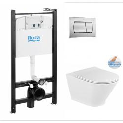 Pack Bâti-support ROCA ACTIVE + WC GAP ROUND sans bride + Abattant softclose + Plaque de commande blanche