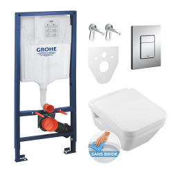 Pack WC Grohe Rapid SL + Cuvette Villeroy & Boch + Plaque de commande Grohe Skate Chrome