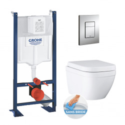 Pack WC Rapid SL autoportant + Euro Ceramic Cuvette WC suspendue compact Triple Vortex, blanc alpin (ProjectEuroCeramic-1)