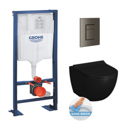 Pack Rapid SL autoportant + plaque hard graphite brossé + WC suspendu SENTO +abattant noir mat (autoportantblacksento1)