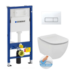 Geberit Pack WC Geberit duofix UP100 + Cuvette Ideal Standard Tesi Aquablade + Plaque de commande Delta20 Blanche