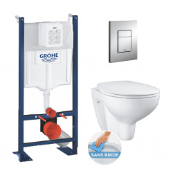 Pack WC Rapid SL autoportant + cuvette Bau Ceramic sans bride + plaque Skate Cosmo chrome (ProjectBau-1)