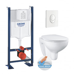 Pack WC Rapid SL autoportant + cuvette Bau Ceramic sans bride + plaque Skate Air blanche (ProjectBau-3)