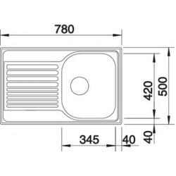 Évier TIPO 45 S Compact 780x500 mm, inox brillant (513441)