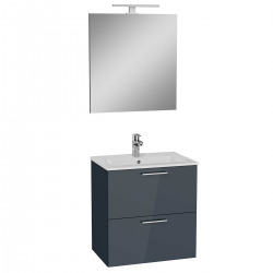 Meuble pour salle de bain avec miroir lavabo et éclairage Vitra Mia 59x61x39,5 cm, anthracite brillant (MIASET60A)