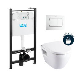 Pack Bâti-support ROCA ACTIVE + WC suspendu SM10 + abattant softclose + plaque de commande blanche (RocaActiveSM10-1)