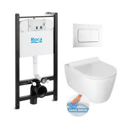 Pack Bâti-support ROCA ACTIVE + WC sans bride Glacera Alfa + abattant ultra fin + plaque blanche (RocaActiveAlfa-1)
