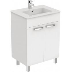 Meuble 80 cm Ulysse et lavabo-plan, blanc laqué (E3257WG)