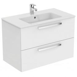 Meuble suspendu 80 cm Ulysse et lavabo-plan, blanc laqué (E3258WG)
