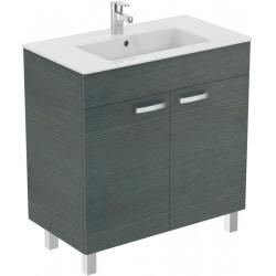 Meuble sur pied 80 cm Ulysse et lavabo-plan, bois grisé (E3257SG)