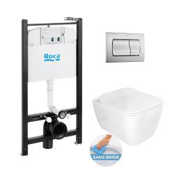 Pack Bâti-support ROCA ACTIVE + WC sans bride Glacera Havana + abattant ultra fin + plaque blanche (RocaActiveHavana-1)