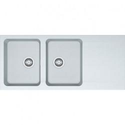 Orion OID 621 - Evier de cuisine 2 bacs, en Tectonite®, Blanc Artic (114.0276.031)