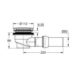Clapet de vidage horizontal Pour receveurs de douche UNIVERSAL, chromé (49534000)