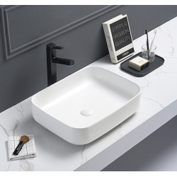 Vasque à poser Infinitio 50 x 39 x 13 cm sans trop-plein, blanc (SATINF5039M)
