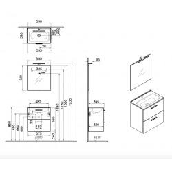Meuble pour salle de bain avec miroir lavabo et éclairage Vitra Mia 59x61x39,5 cm, blanc brillant (MIASET60B)