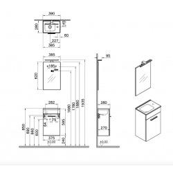 Meuble pour salle de bain avec miroir lavabo et éclairage Vitra Mia 39x61x28 cm, anthracite brillant (MIASET40A)