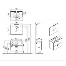 Meuble pour salle de bain avec miroir lavabo et éclairage Led Vitra Mia 79x61x39,5 cm, blanc brillant (MIASET80B)